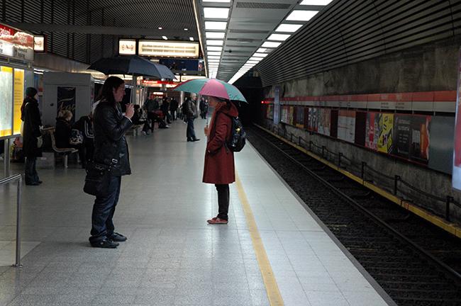 Umbrellas underground